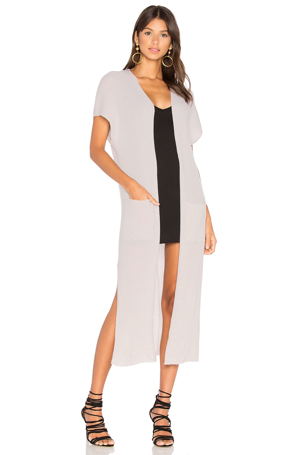 Autumn Cashmere Rib Maxi Vest in Birch