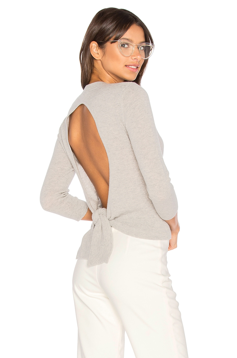 Autumn Cashmere Tie Back Crop Sweater in Fog