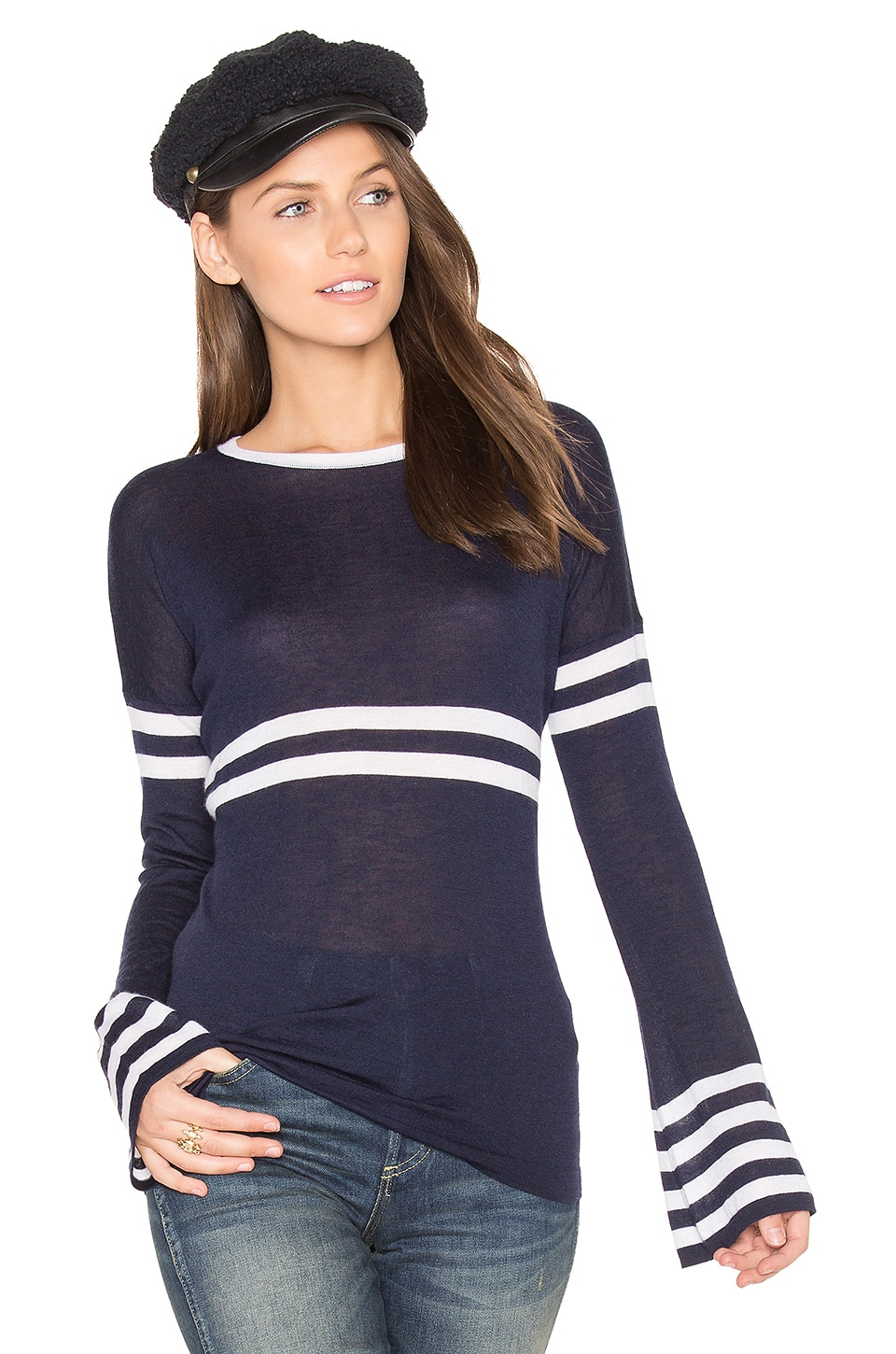 Bell Sleeve Stripe Sweater by Autumn Cashmere