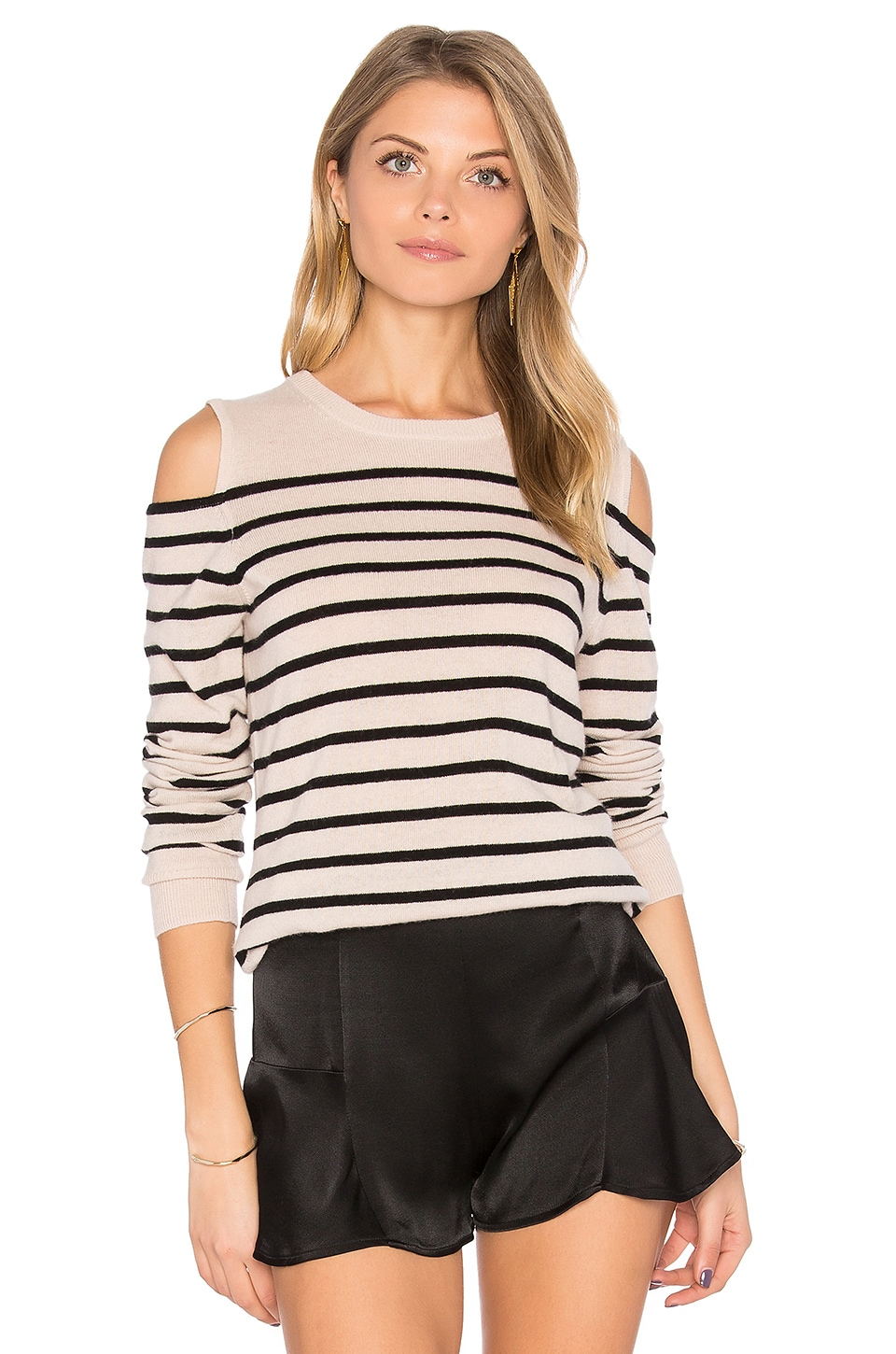 Autumn Cashmere Cold Shoulder Stripe Sweater in Trench & Black