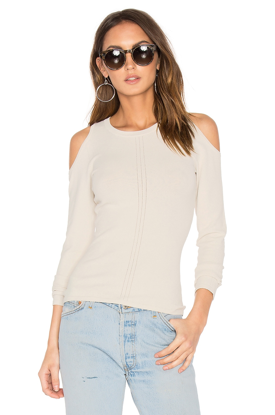 Pointelle Cold Shoulder Sweater by Autumn Cashmere