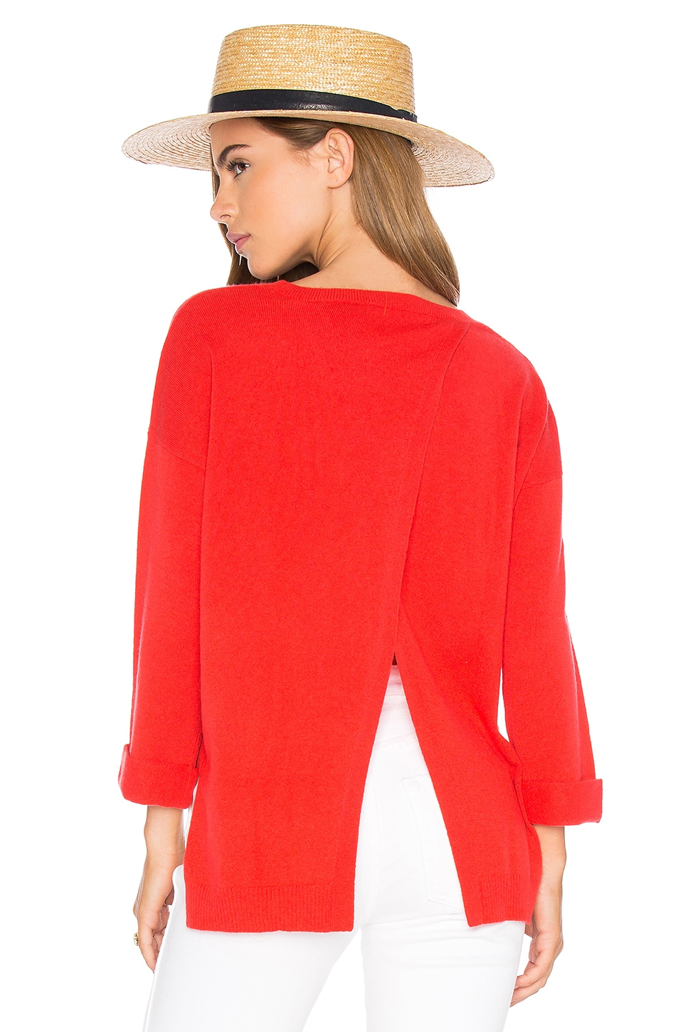 Autumn Cashmere High Low Open Back Sweater in Lava