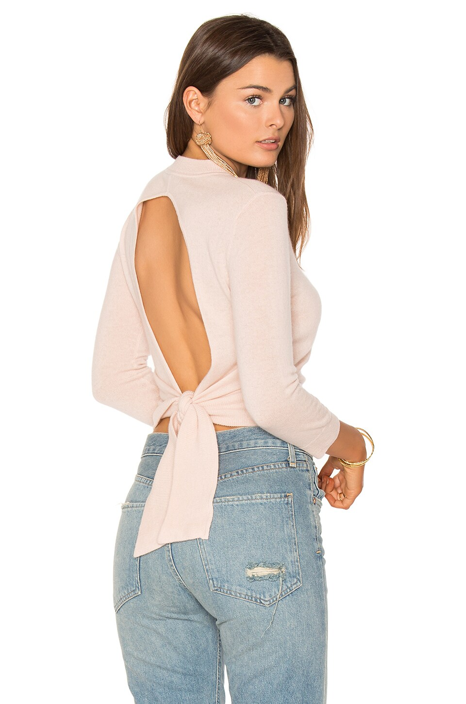 Autumn Cashmere Tie Back Crop Sweater in Bubble