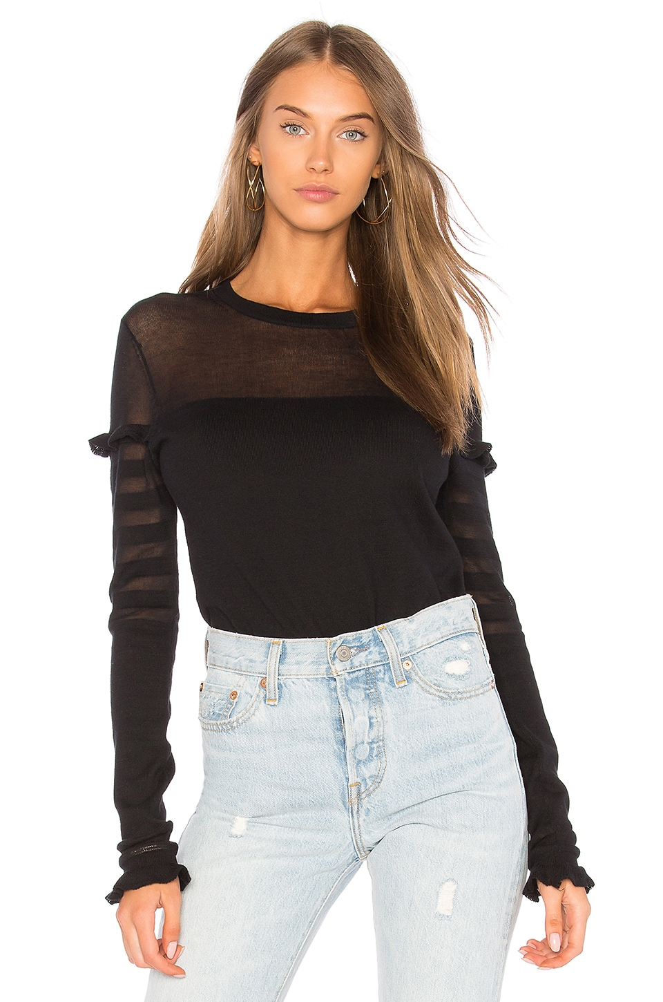 Shadow Stripe Ruffle Sweater by Autumn Cashmere