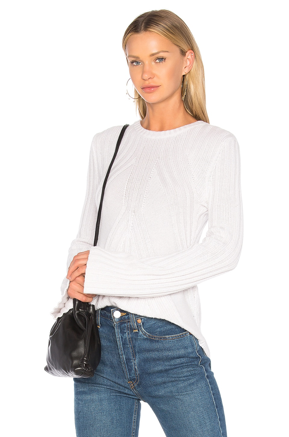 Autumn Cashmere Ribbed Flare Sweater in Platinum