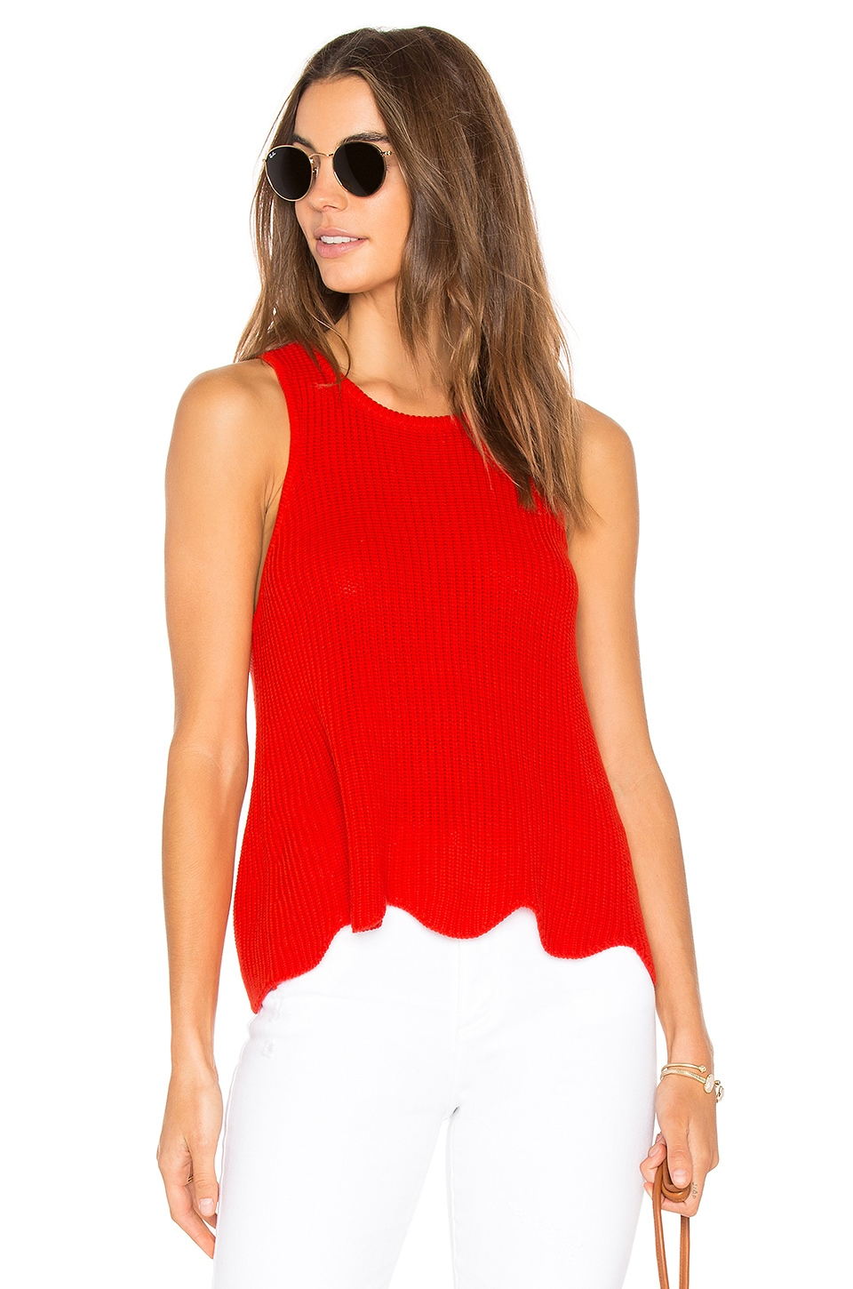 Autumn Cashmere Scallop Shaker Tank en Apple