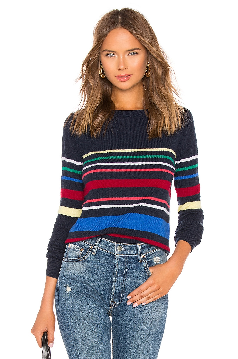 Autumn Cashmere Multi Stripe Boatneck Sweater in Navy Bright