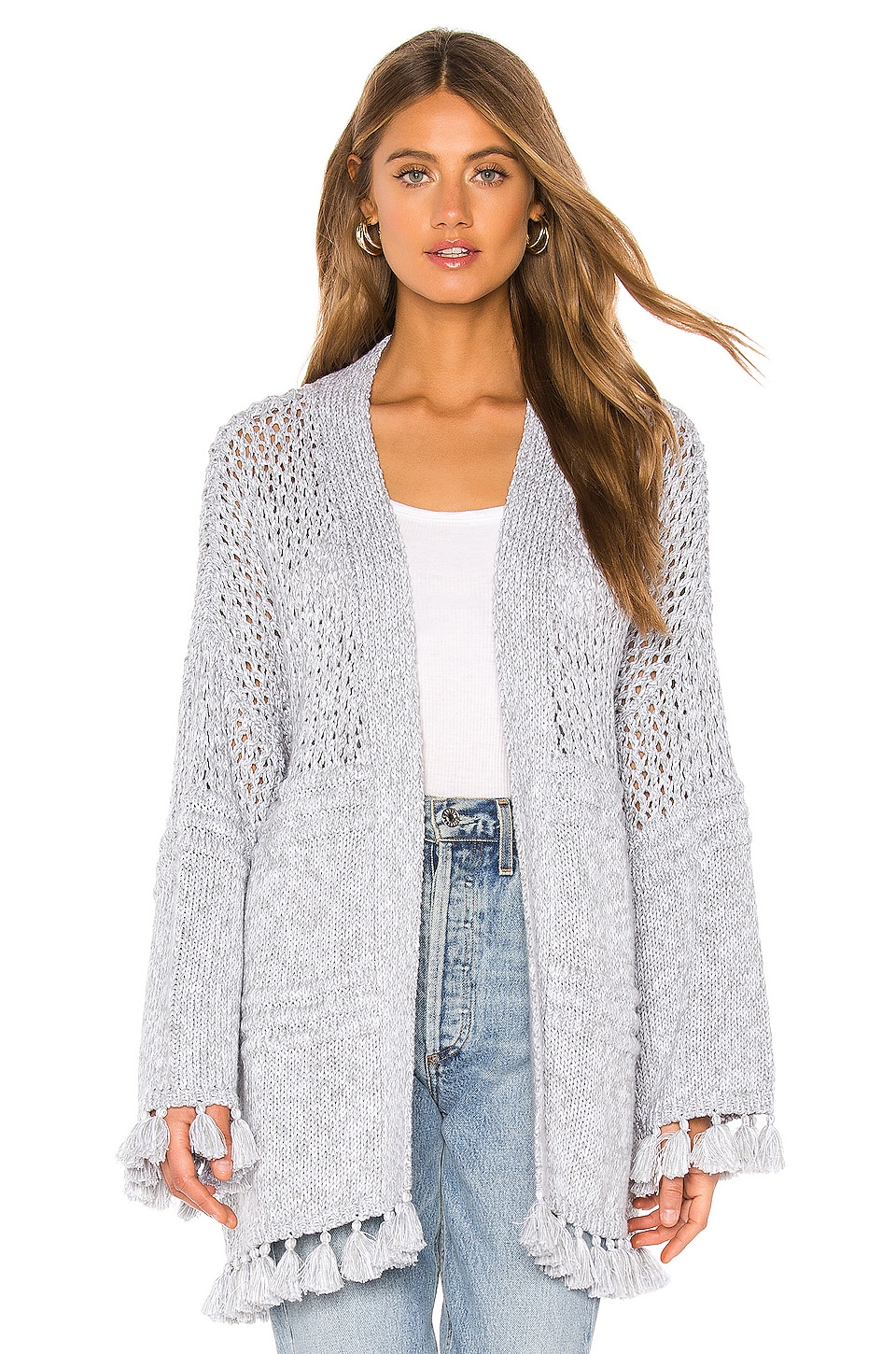 Autumn Cashmere Tassel Open Cardigan in Sweatshirt & Bleach White