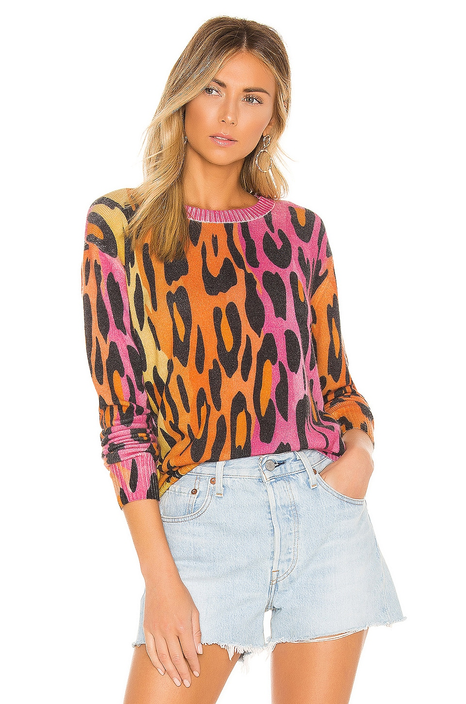 Autumn Cashmere Printed Ombre Leopard Crew in Warm Combo