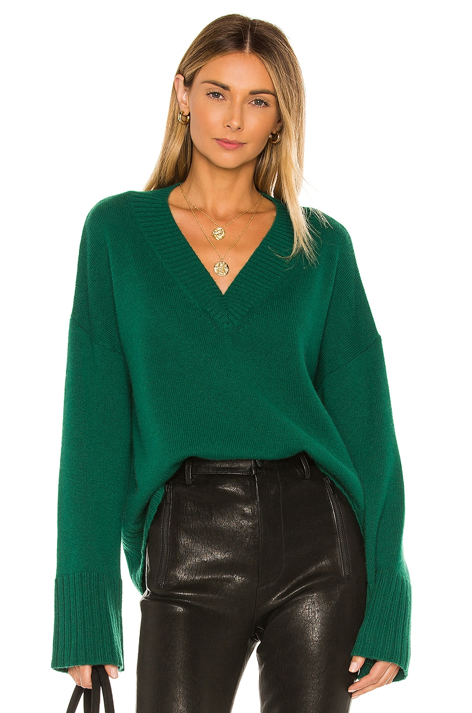 Autumn Cashmere Boxy Wide Sleeve Sweater in Astroturf