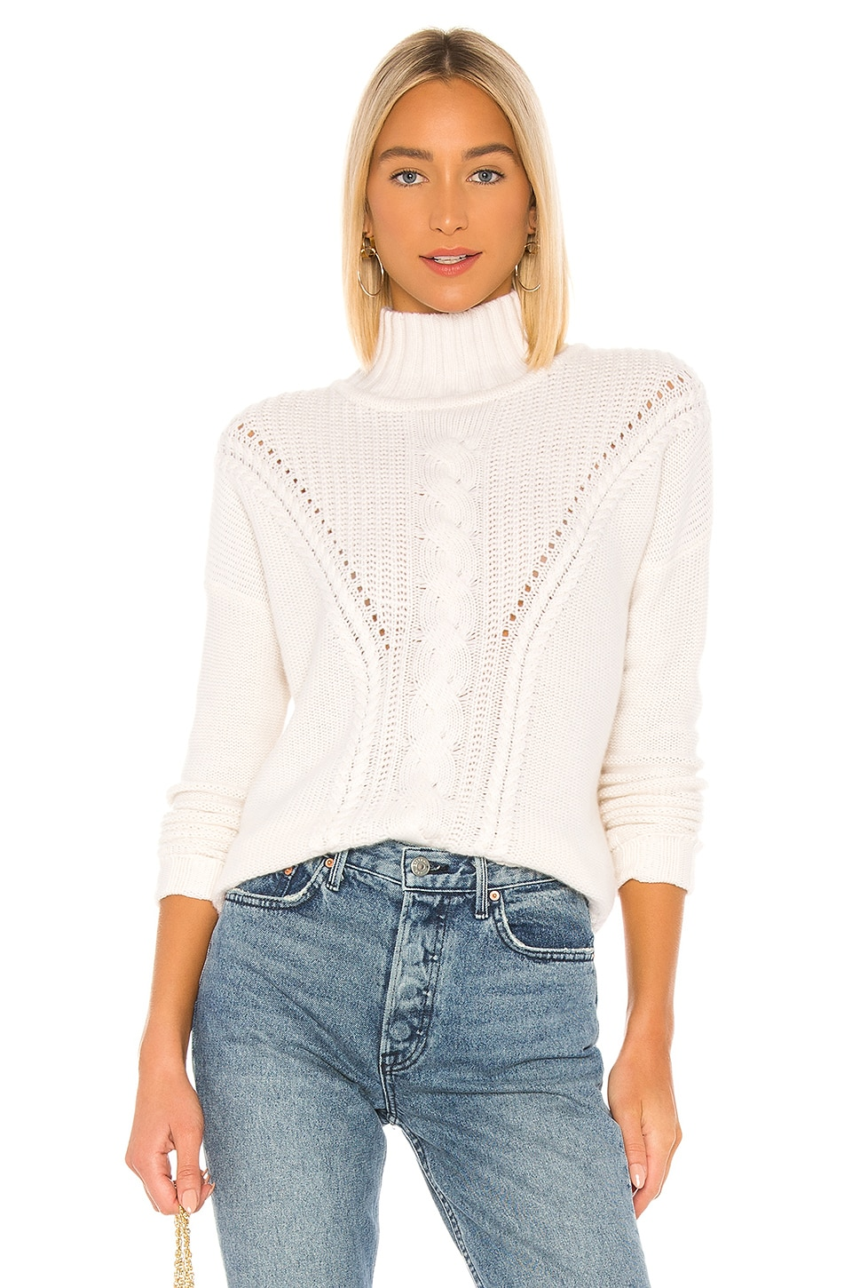 Autumn Cashmere Mock Neck Cable Stitch Sweater in Chalk