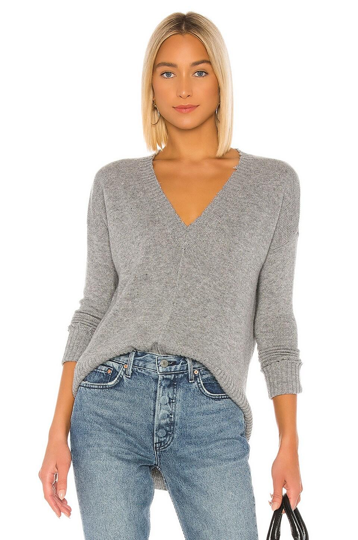 Autumn Cashmere Distressed Edge Sweater in Nickel