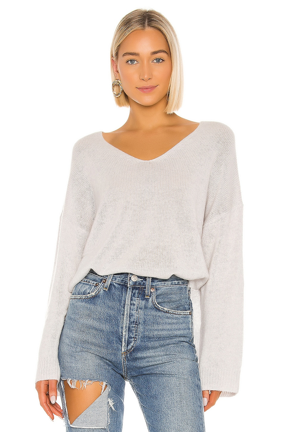 Autumn Cashmere Relaxed Double V Hi Lo Sweater in Sleet