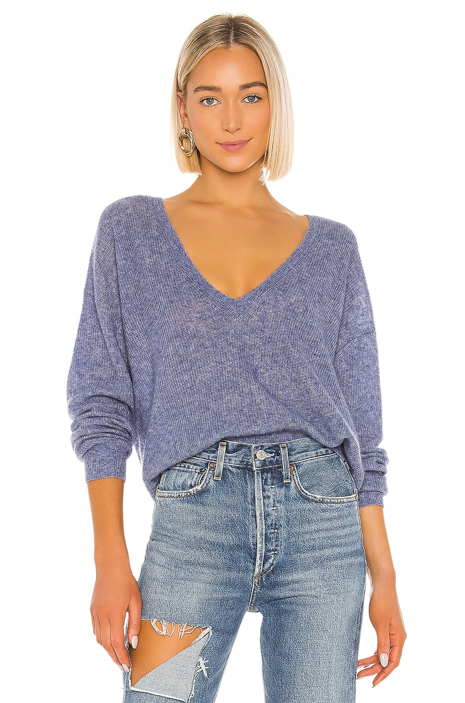 Autumn Cashmere Shaker Stitch Deep Boyfriend V Sweater in Slate Blue