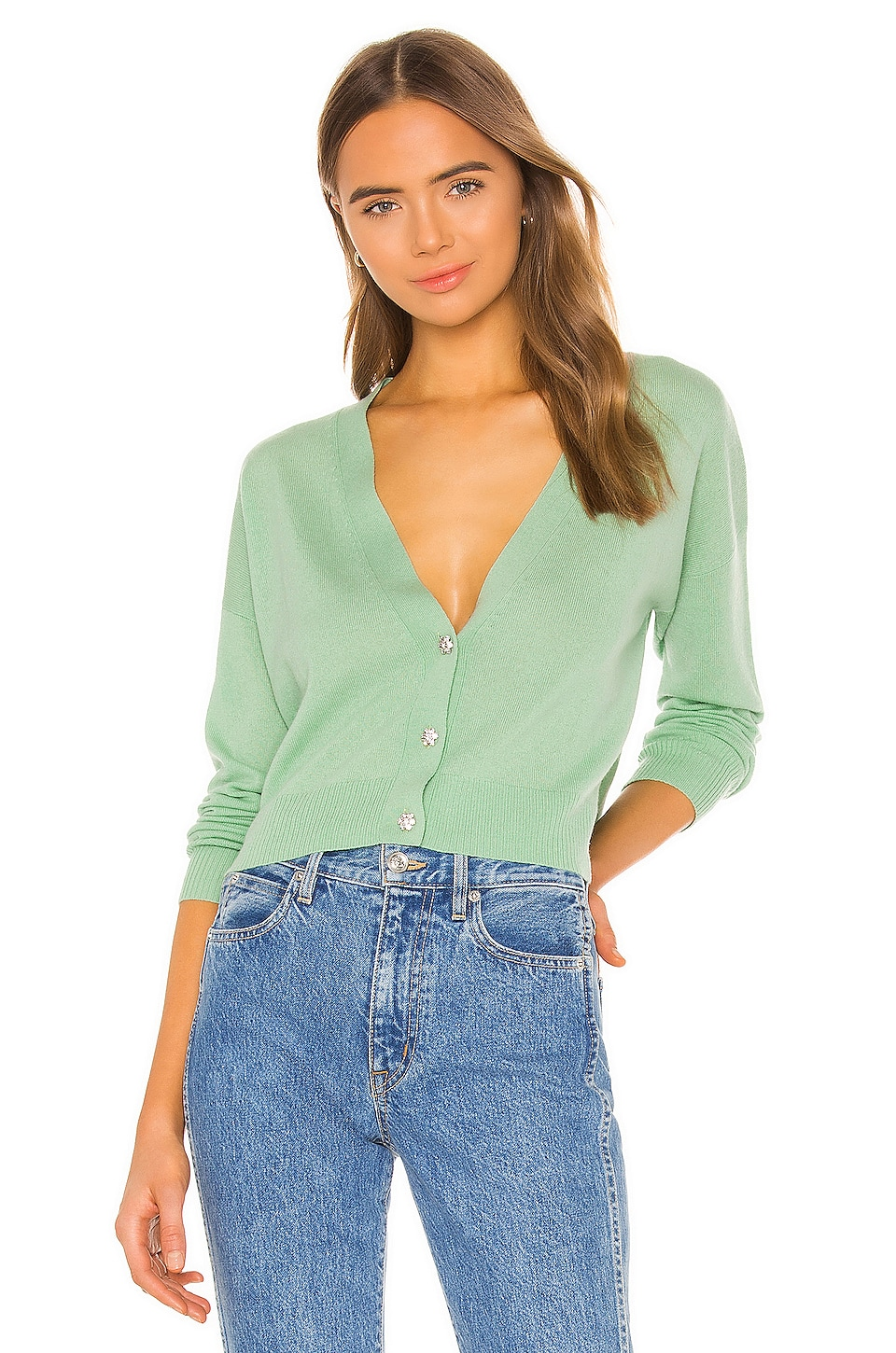 Autumn Cashmere X REVOLVE Embellished Cropped Cardigan in Lettuce