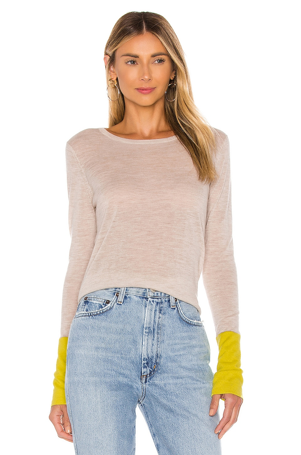 Autumn Cashmere Contrast Sleeve Crew Sweater in Wicker & High Voltage