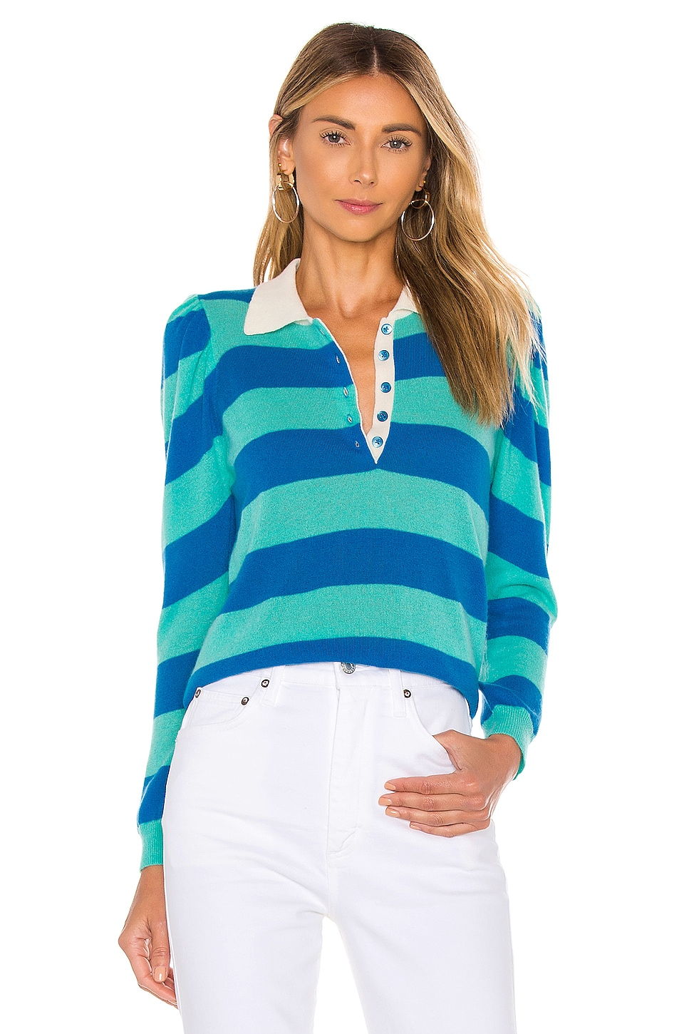 Autumn Cashmere Puff Sleeve Rugby Stripe Polo in Blue Jay & Lagoon Combo