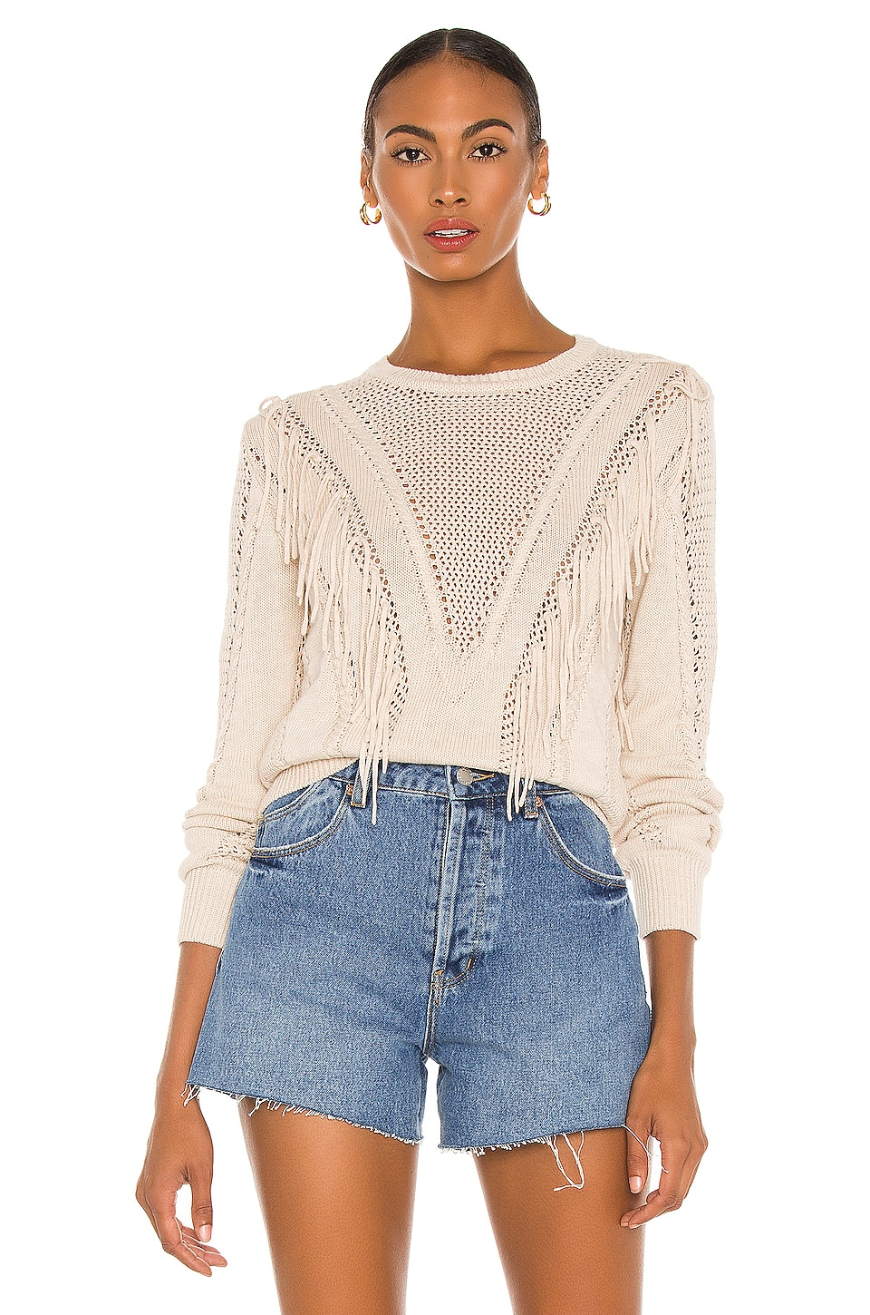 Autumn Cashmere Cable & Mesh Fringe Crew Sweater in Natural