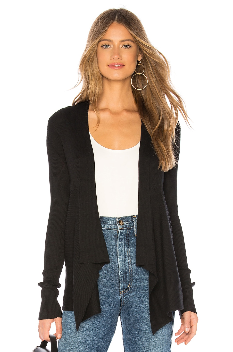 Autumn Cashmere Solid Rib Drape Cardigan in Black