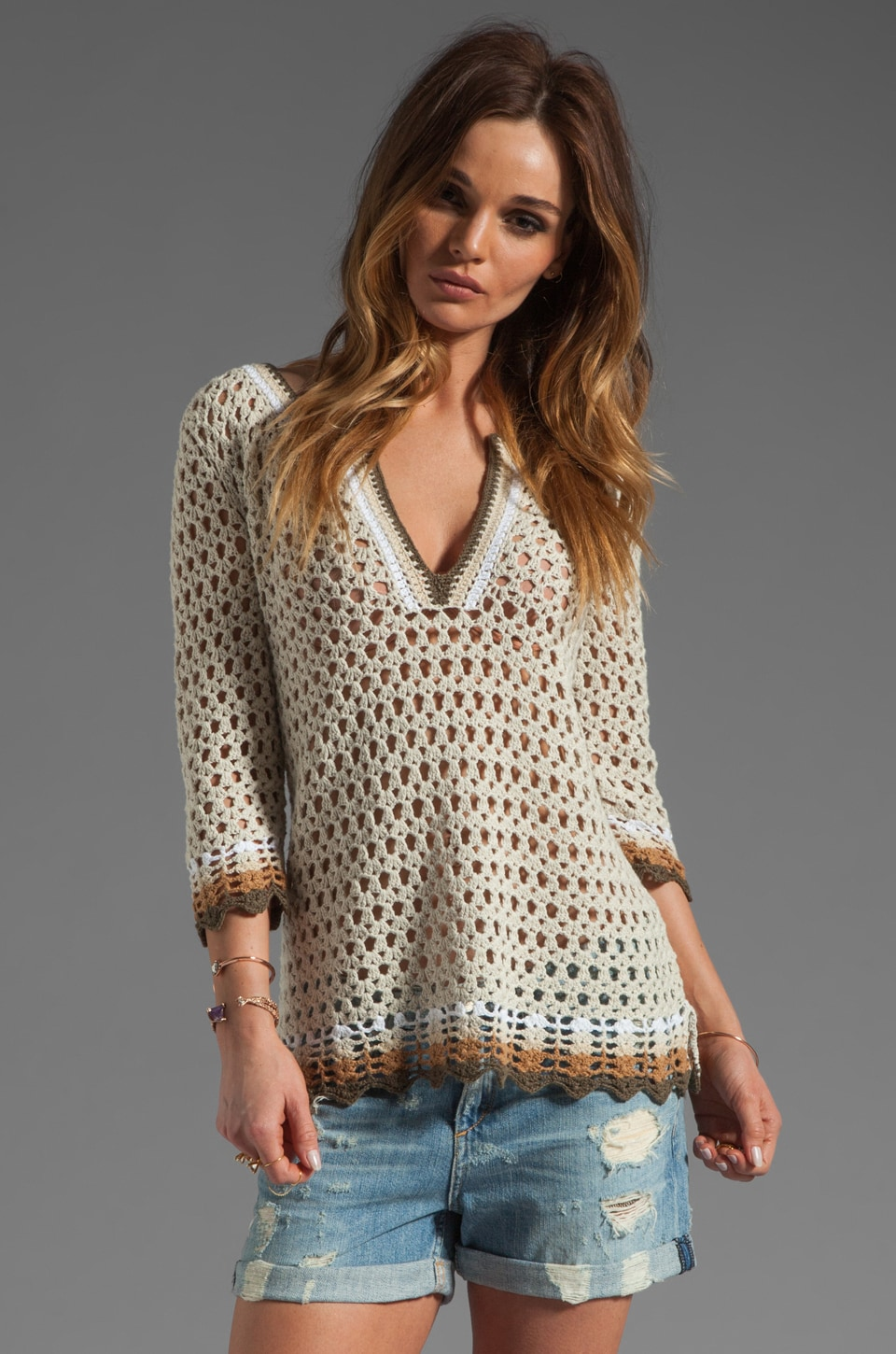 Autumn Cashmere Crochet Slash Neck Tunic in Hemp/Neutrals