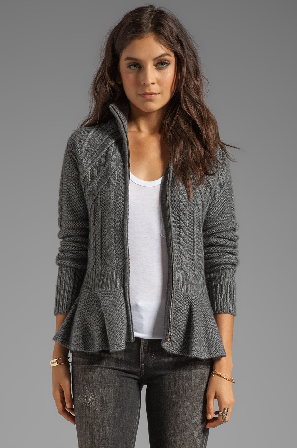Autumn Cashmere Peplum Jacket in Flannel
