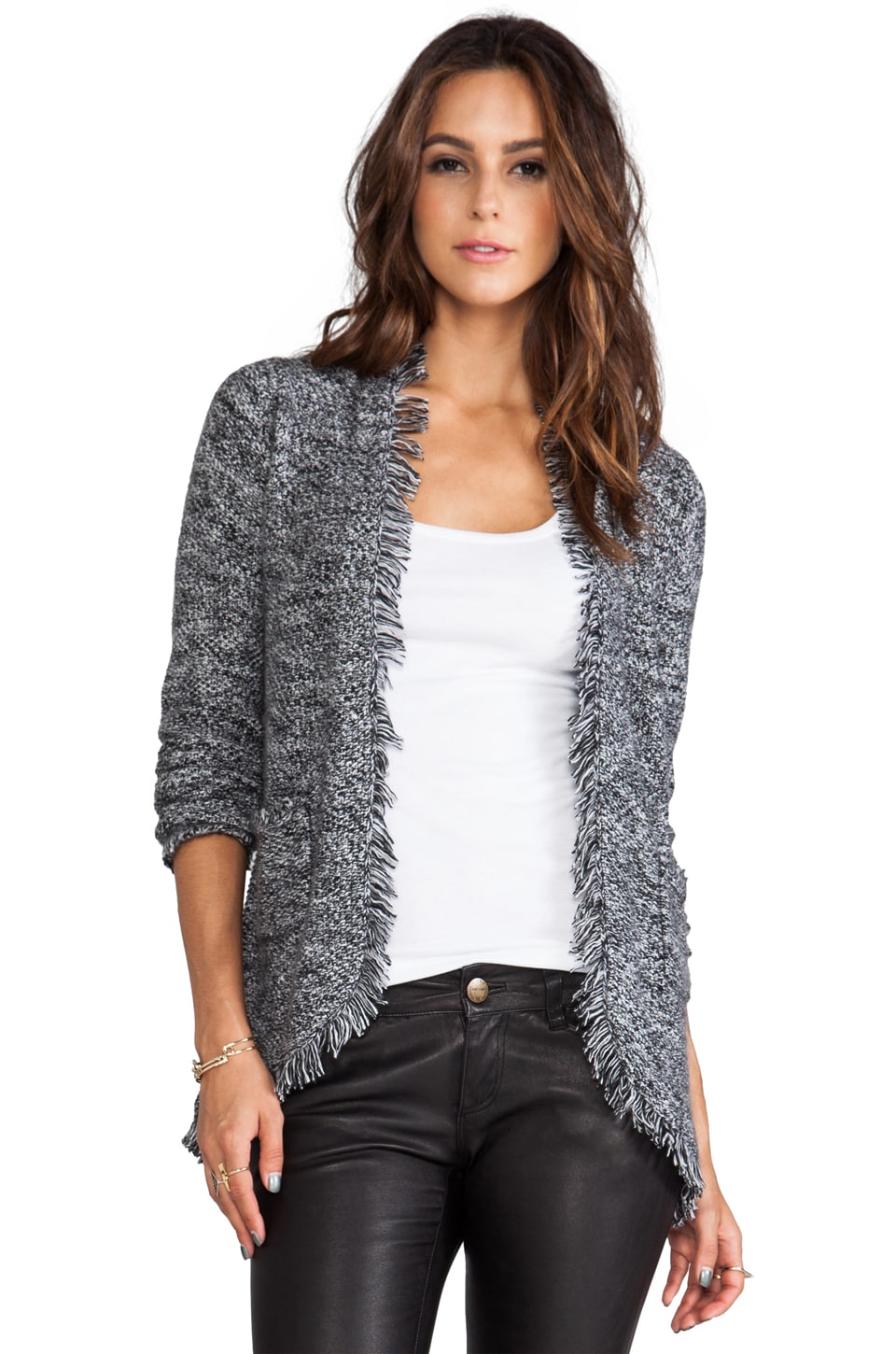 Autumn Cashmere Tweed Open Jacket in Ebony/Vanilla