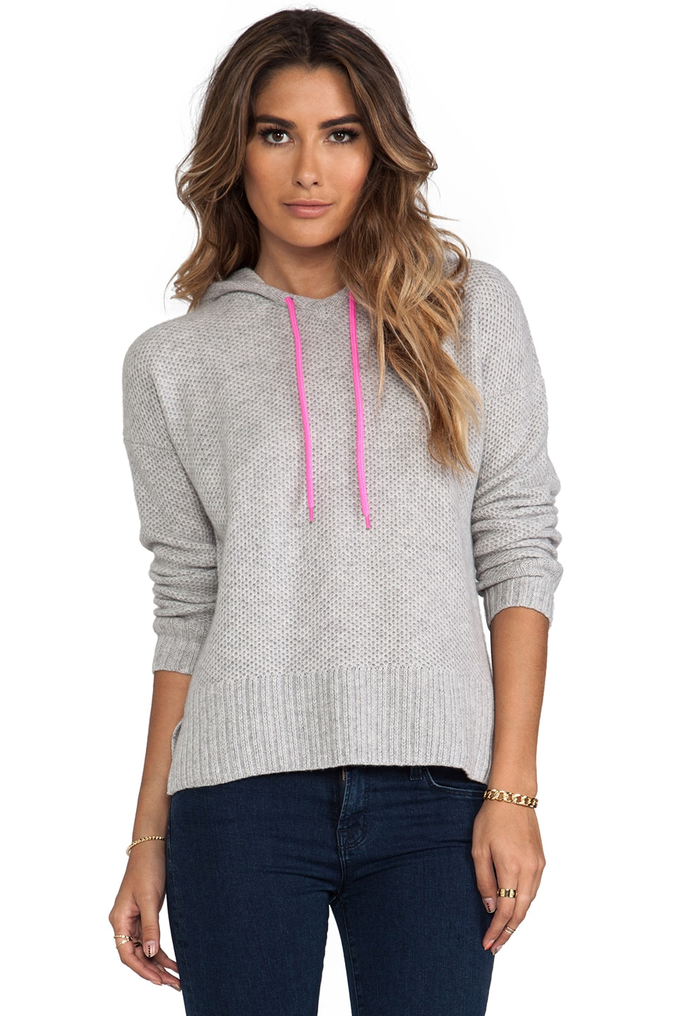 Autumn Cashmere Honeycomb Stitch Hoodie in Fog & Shock