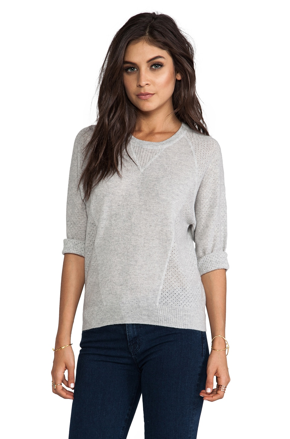 Autumn Cashmere Mesh Detail Sweatshirt in Fog