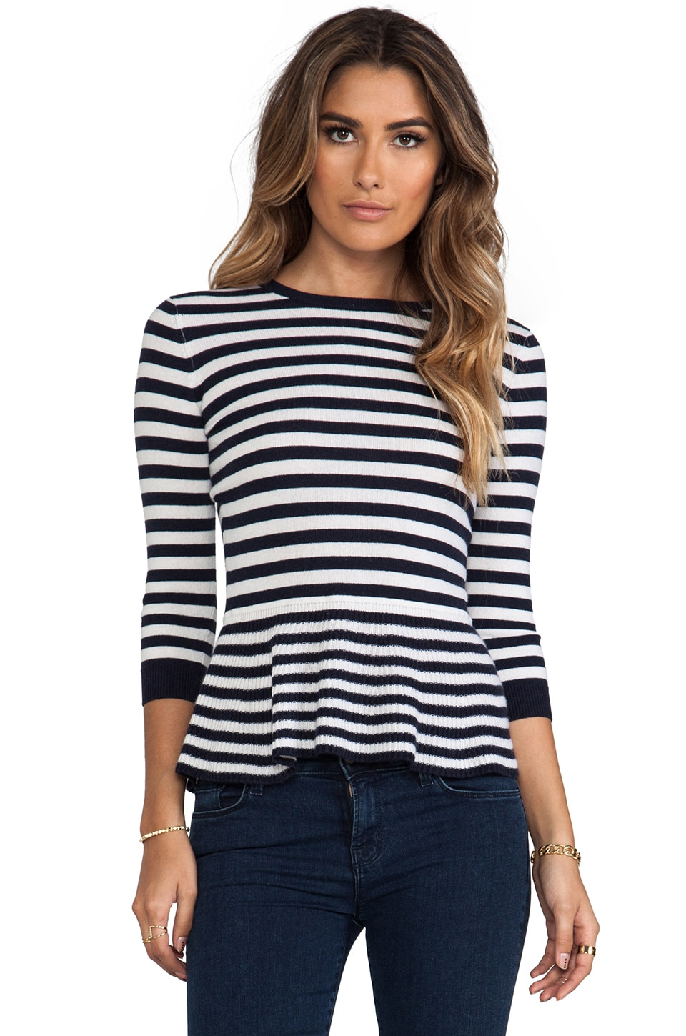 Autumn Cashmere Striped 3/4 Sleeve Peplum Top in Navy & White & Shock