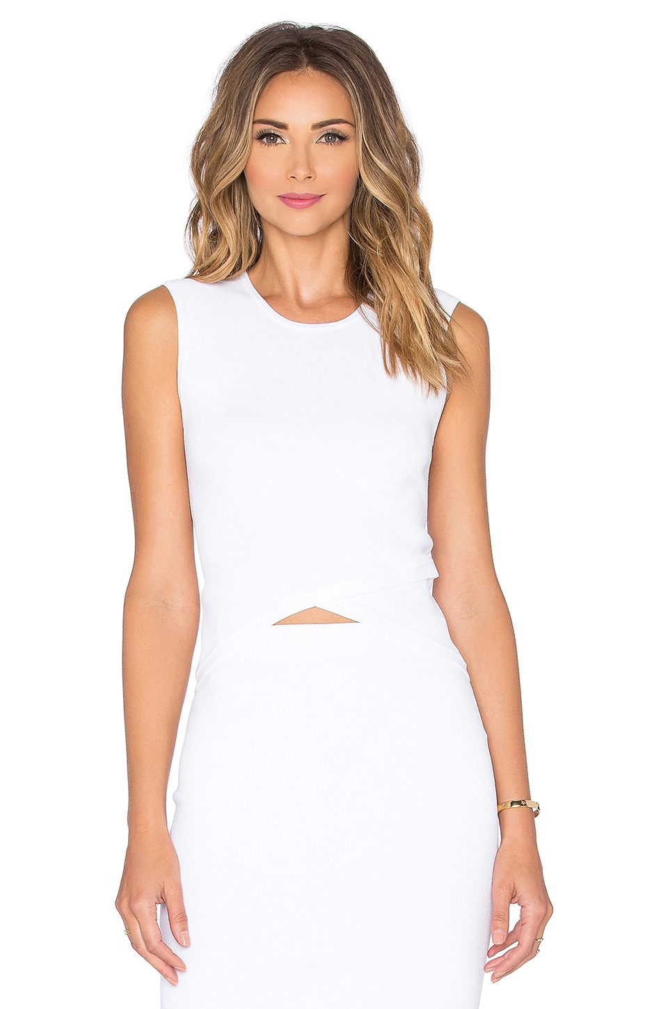 Autumn Cashmere Criss Cross Crop Top in White