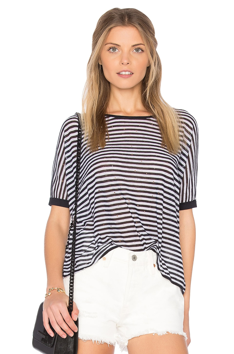 Autumn Cashmere Stripe Distressed Crop Tee in Navy Blue & Platinum