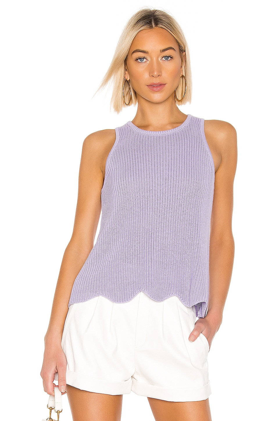 Autumn Cashmere Scallop Shaker Tank in Hyacinth