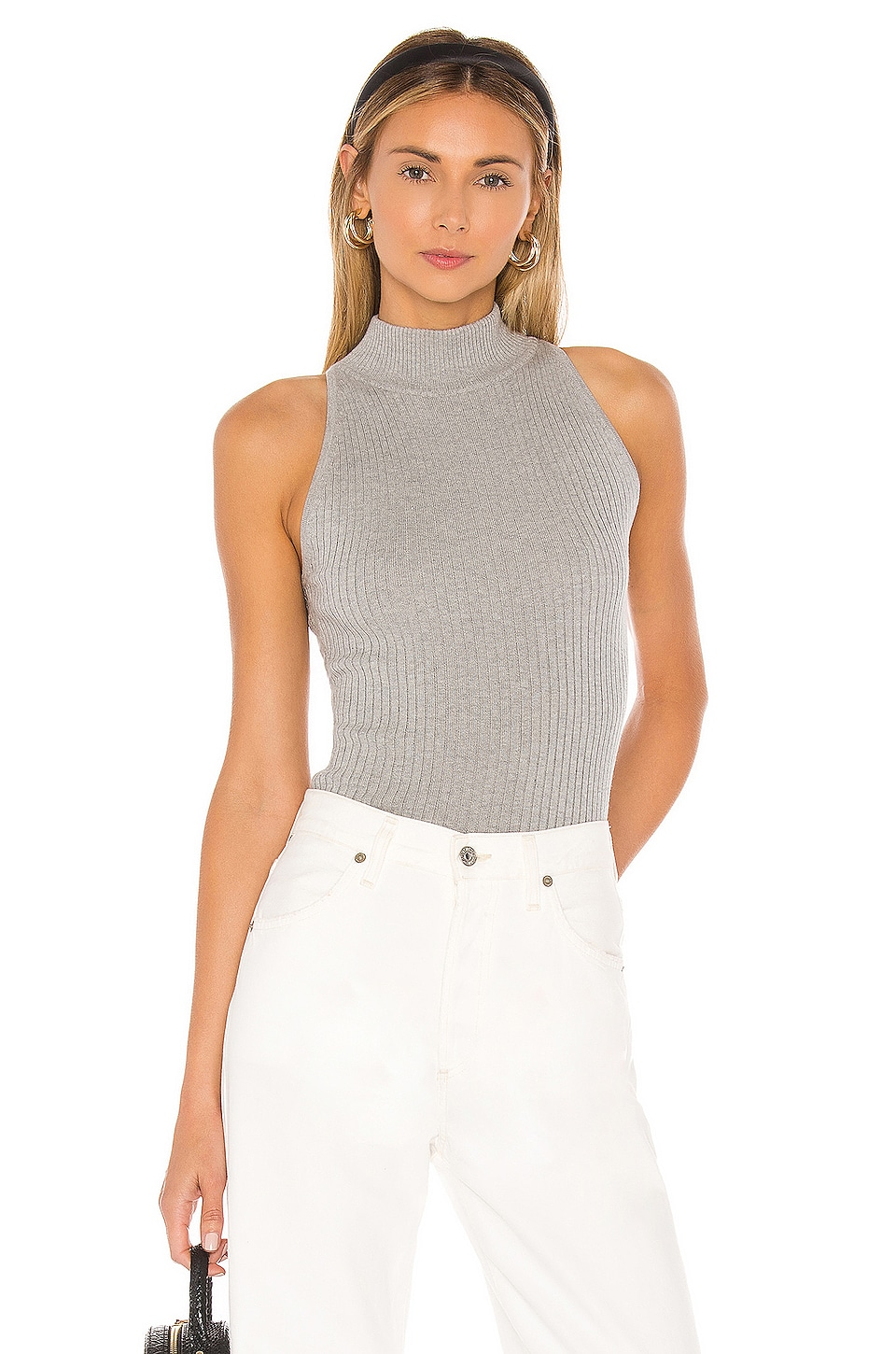 Autumn Cashmere Rib Mock Halter in Sweatshirt