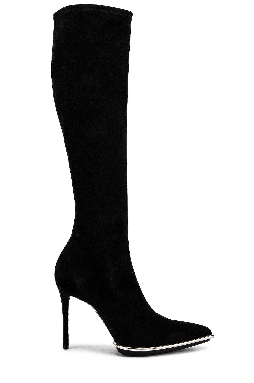 Alexander Wang Cara Knee High Black Stretch Suede Boot in Black