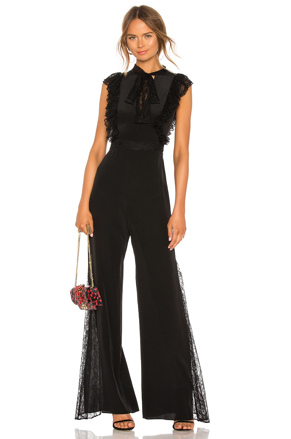 Gislane Tie Neck Jumpsuit, Black
