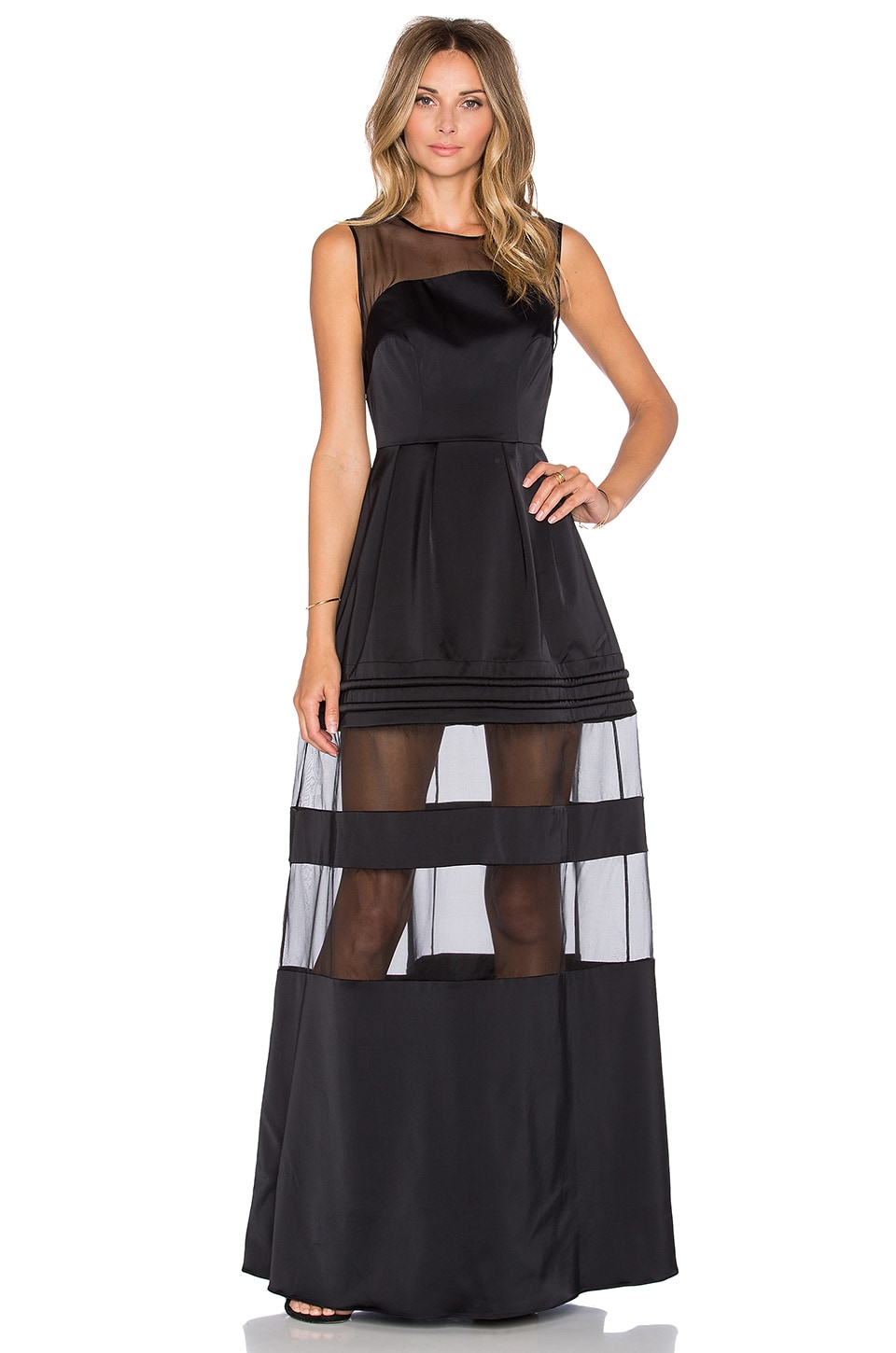Alexis Andromeda Sheer Panel Gown in Black