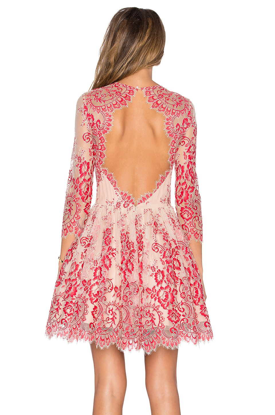 Alexis Bella Mini Dress in Red Lace