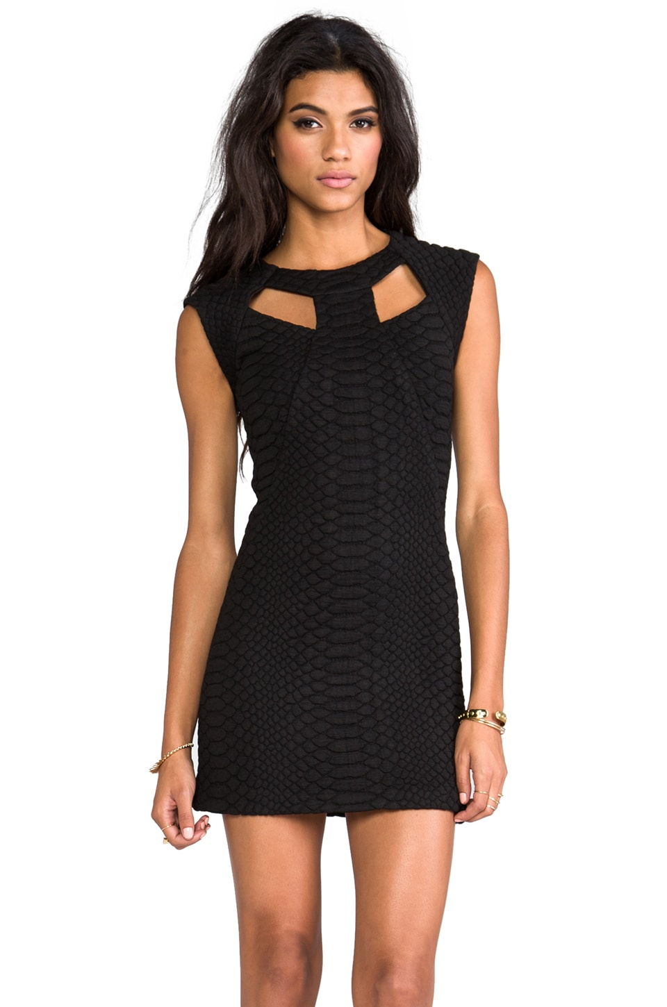 Alexis Penelope Black Structured Dress With Front Cut Outs in Black Python