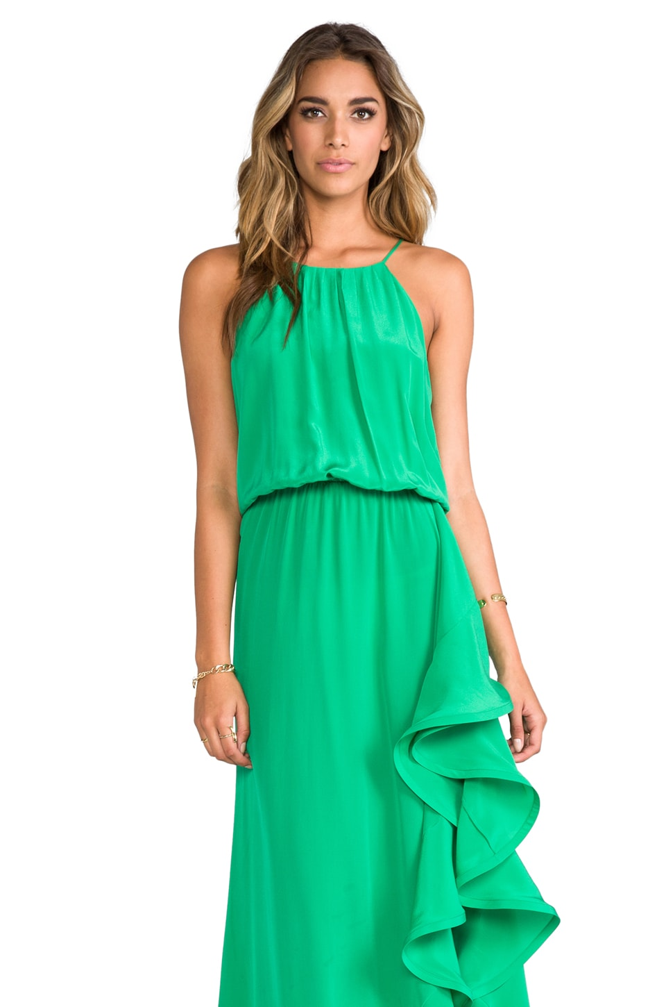 Alexis Mickael Long Dress With Ruffle in Green