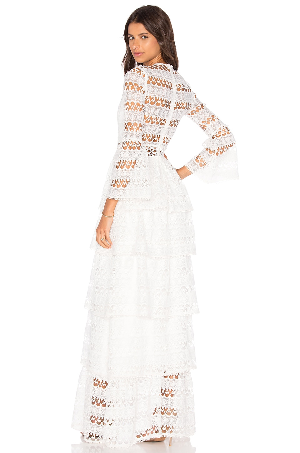 Alexis Liliane Long Dress in White Embroidery