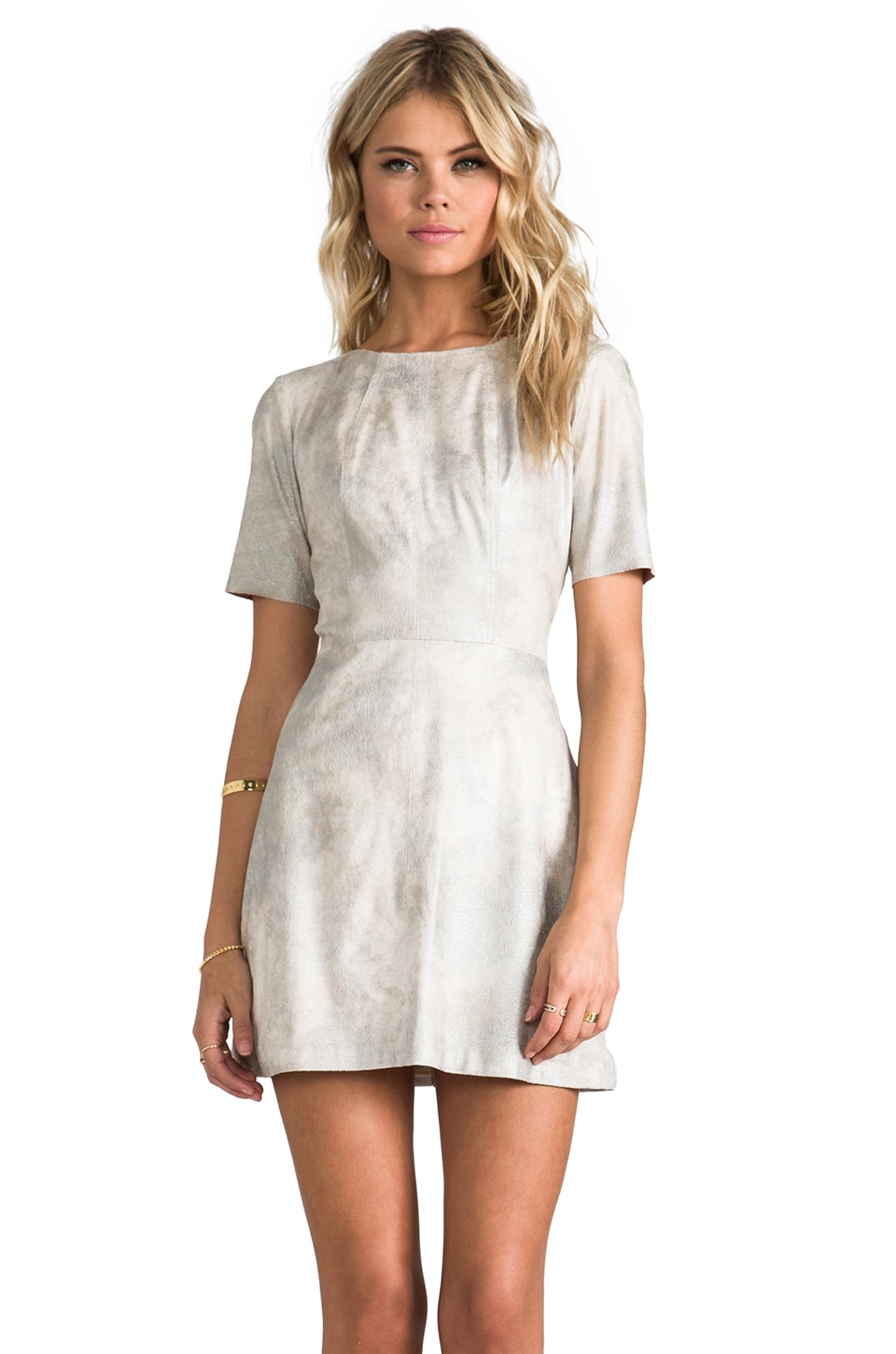 Alexis Roman Dress in Silver Haze