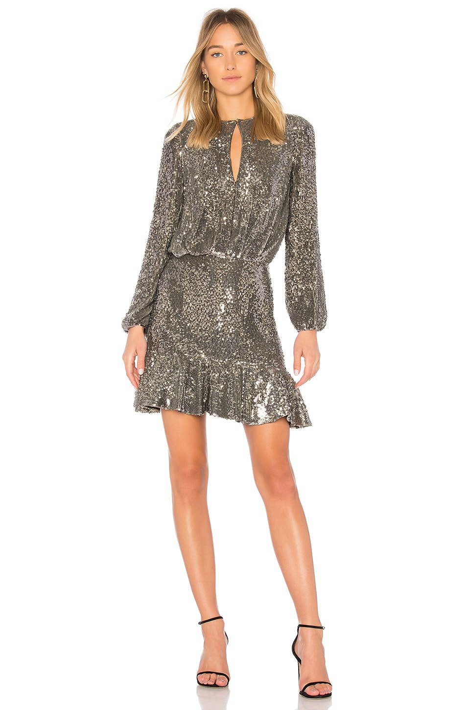 alexis tamera dress in silver sequin | revolve