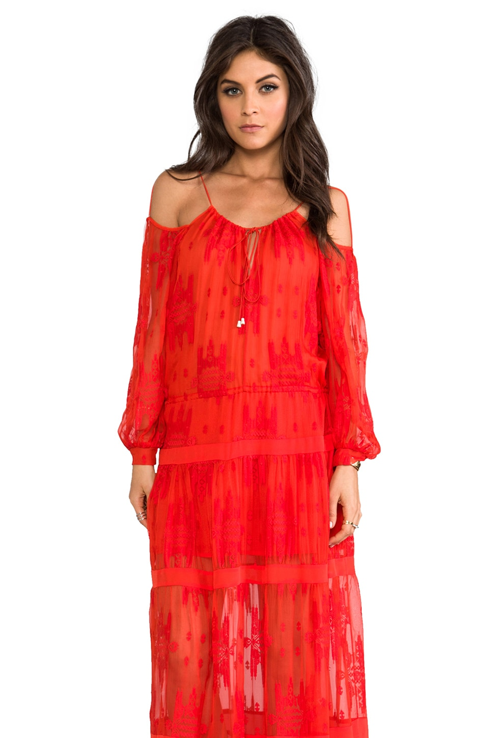Alexis Cevilla Dress in Red Orange Embroidery