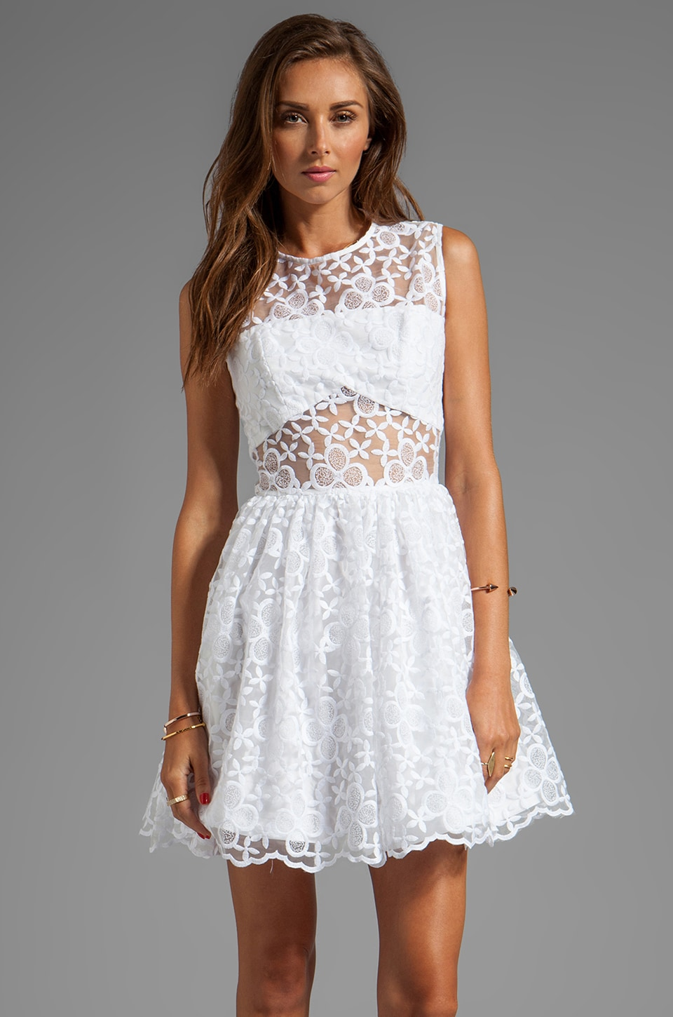 Alexis Finna Short Cocktail Dress in White Flower
