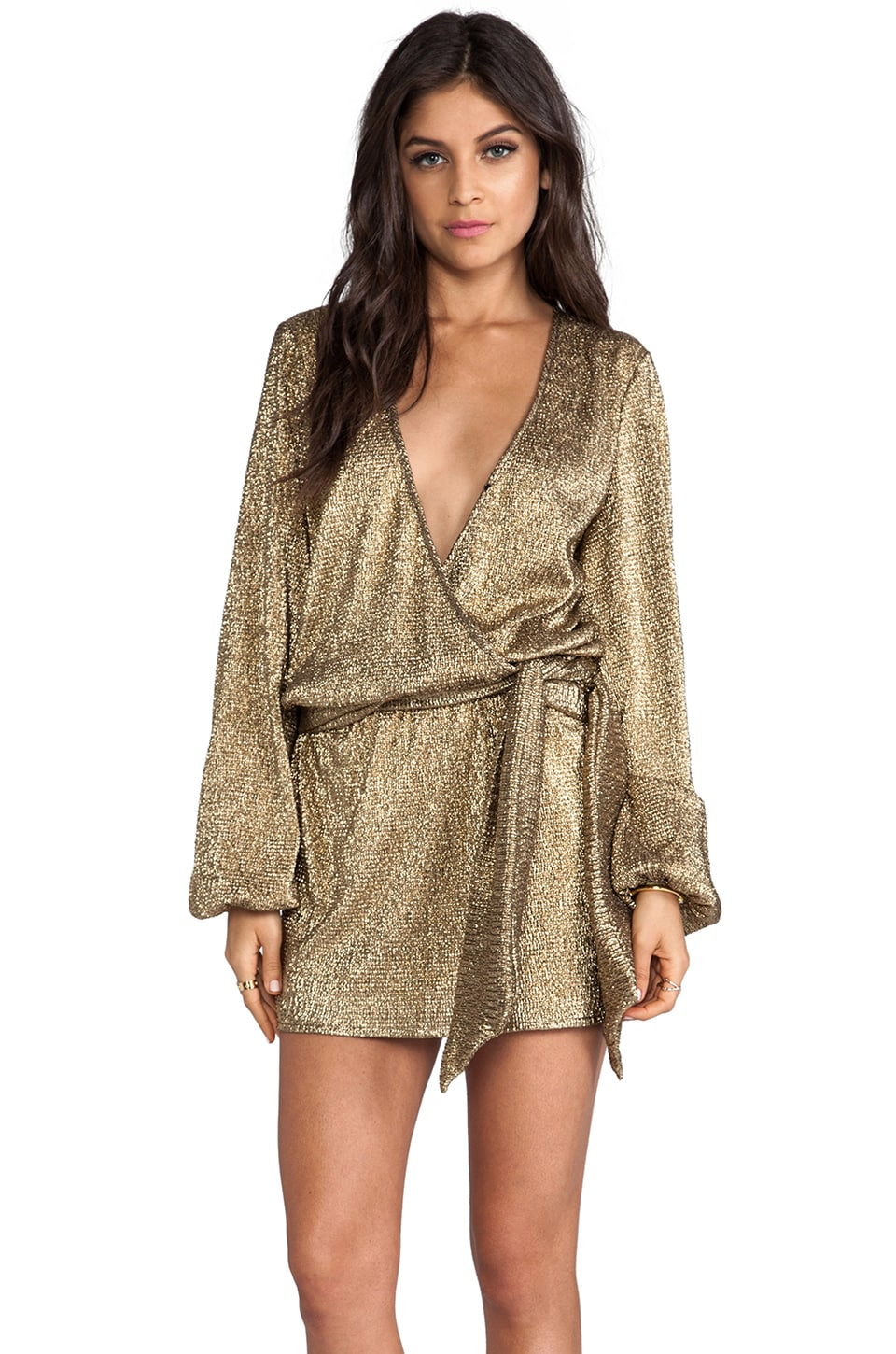 Alexis Siena Cross-Over Dress in Gold Foil