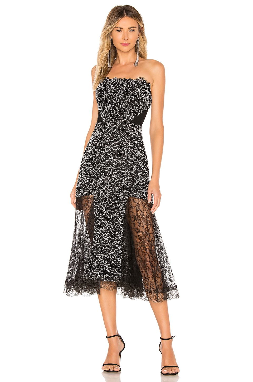 Alexis Ornella Midi Dress in Corded Leaf Lace