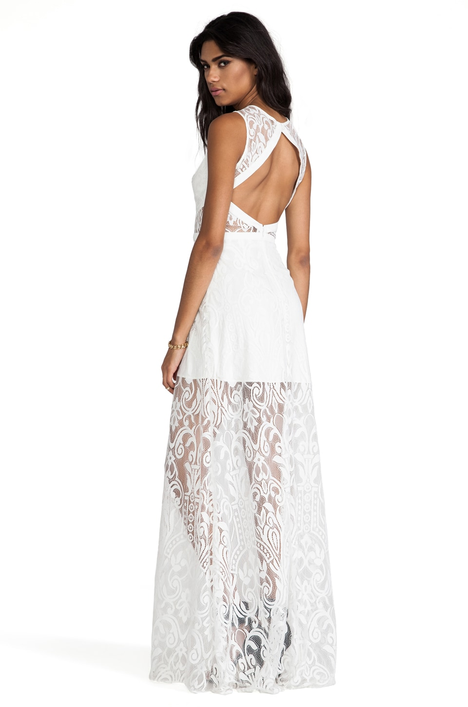 Alexis Everly Lace Open Back Dress in White Lace