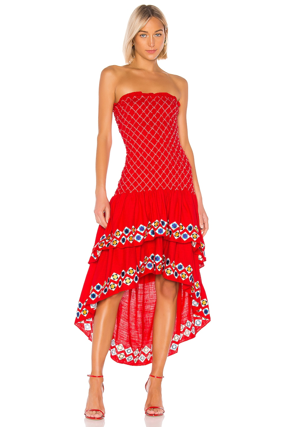 Alexis Revada Dress in Red Geometric Embroidery