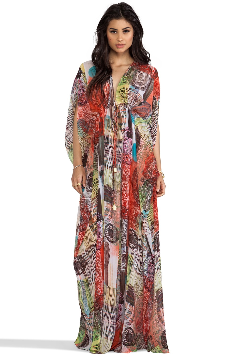 Alexis Shadia V Neck Caftan in Aztec
