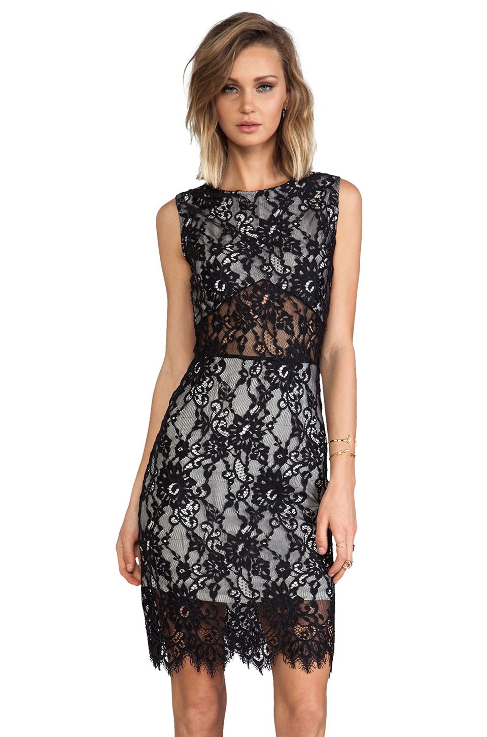 Alexis Kruse Short Lace Dress in Black Lace